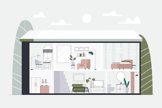 Haus im querschnitt Kostenlosen Vektoren