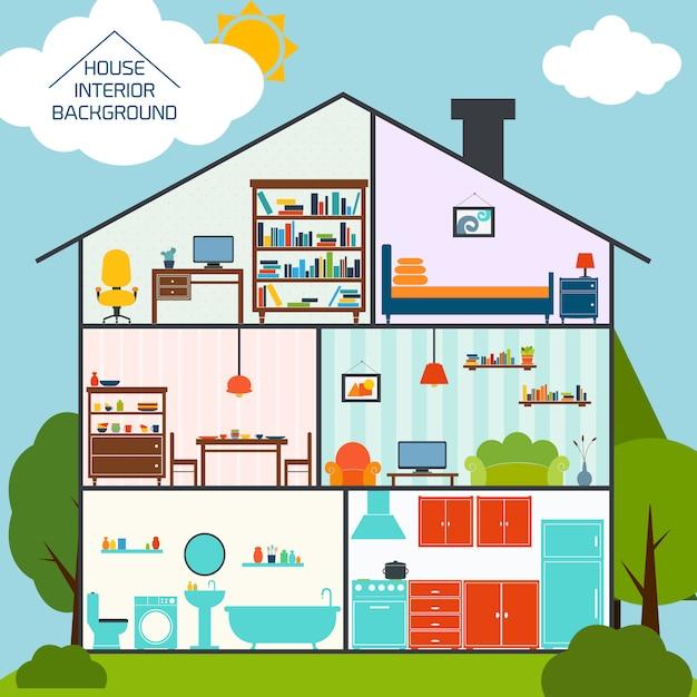 Haus innen Kostenlosen Vektoren