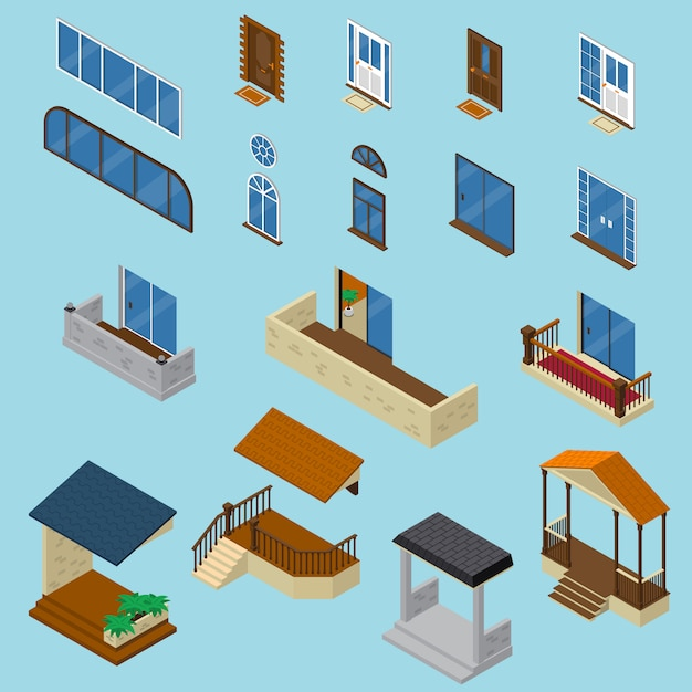 Haus isometrische konstruktor set Kostenlosen Vektoren