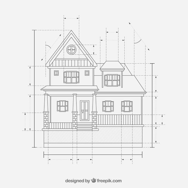 Haus Konstruktionspläne Kostenlose Vektoren