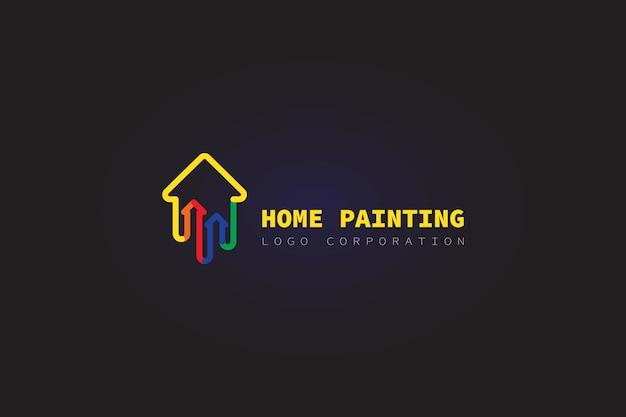 Haus logo malerei Premium Vektoren