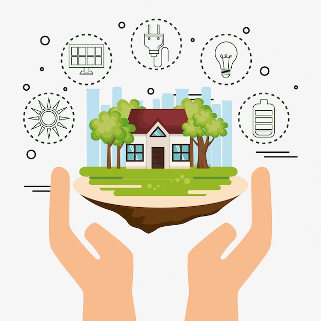 Haus mit retten die weltikonen Kostenlosen Vektoren