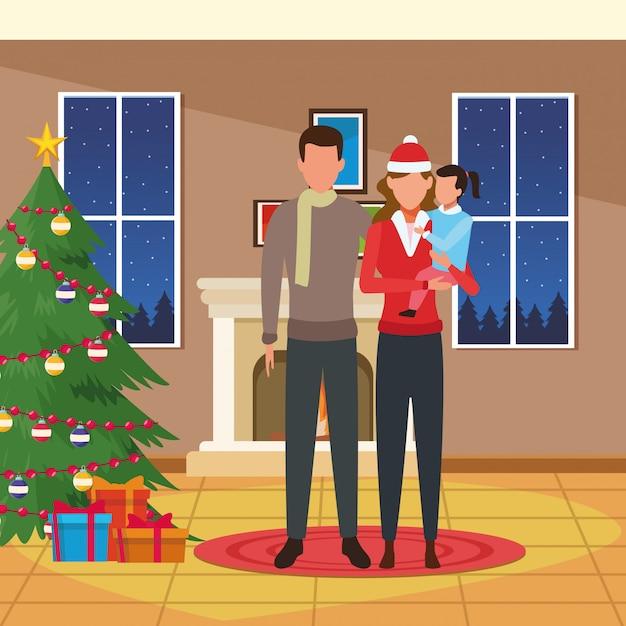 Haus mit weihnachtsdekoration und glücklicher familie Premium Vektoren