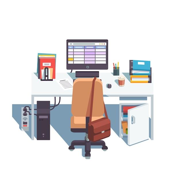 haus oder b ro schreibtisch mit rollen stuhl computer download der kostenlosen vektor. Black Bedroom Furniture Sets. Home Design Ideas