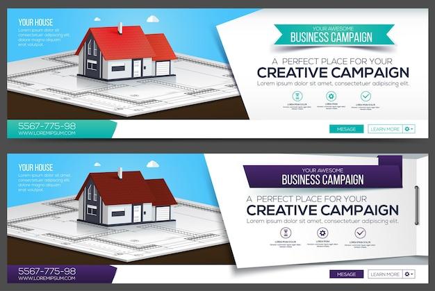 Haus web banner, header layout vorlage. kreatives cover. web-banner. Premium Vektoren