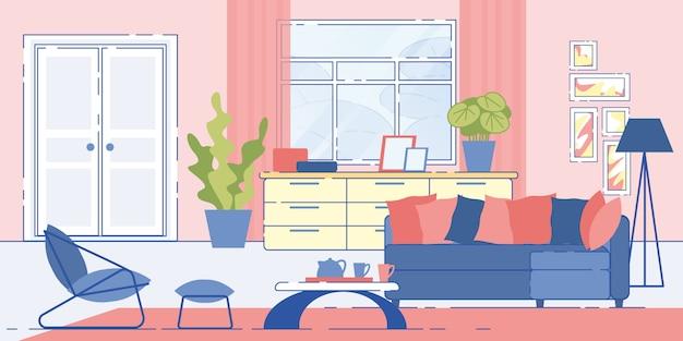 Haus wohnzimmer gemütliches interieur Premium Vektoren