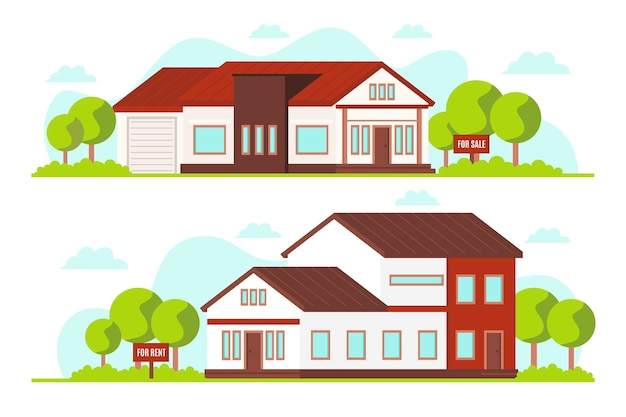 Haus zu verkaufen / zu vermieten Kostenlosen Vektoren