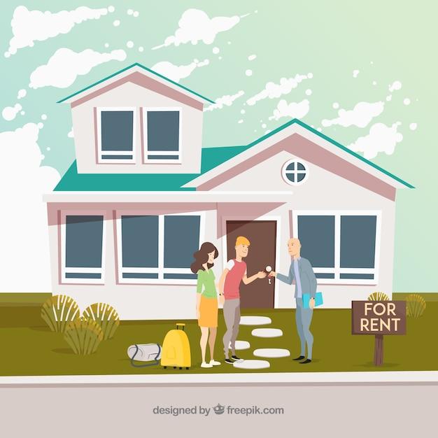 Haus zu vermieten mit flachem design Kostenlosen Vektoren