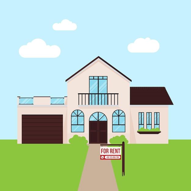Haus zu vermieten mit schild Premium Vektoren
