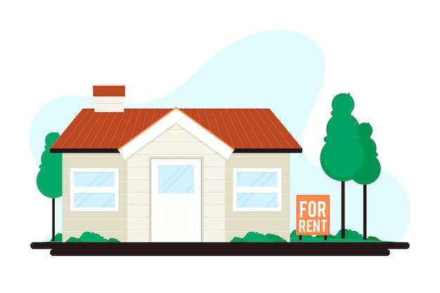 Haus zu vermieten mit schild Kostenlosen Vektoren