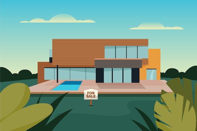Haus zum verkauf architektur mit zeichen Kostenlosen Vektoren