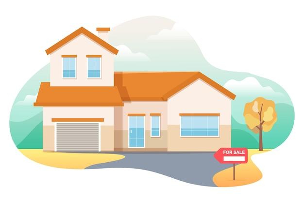 Haus zum verkauf inmitten der natur Kostenlosen Vektoren