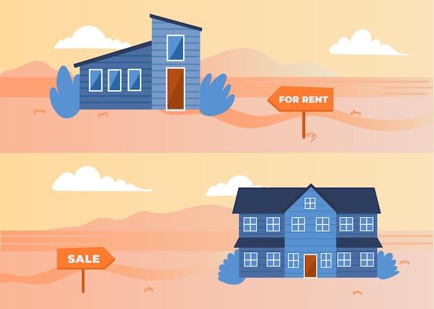 Haus zum verkauf / miete illustration Kostenlosen Vektoren
