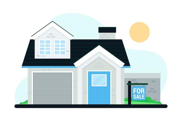 Haus zum verkauf mit schild Kostenlosen Vektoren