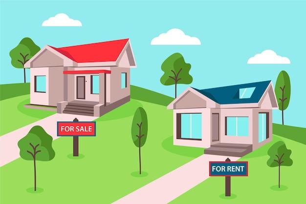 Haus zum verkauf oder miete illustration mit bäumen und wolken Kostenlosen Vektoren