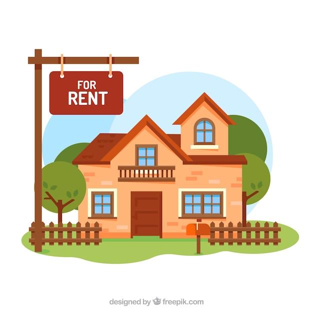 Haus zur miete hintergrund Kostenlosen Vektoren