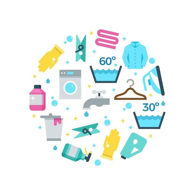 Hausarbeit, die die flachen ikonen rund waschend trocknet Premium Vektoren