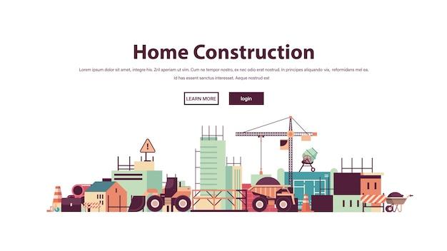 Hausbau gebäudetechnik konzept baustelle kopierraum Premium Vektoren