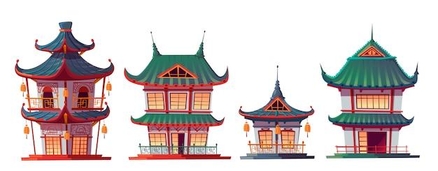 Hausbaukarikatur des traditionellen chinesen Kostenlosen Vektoren