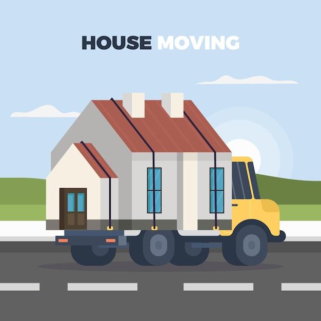 Hausbewegungskonzeptillustration Kostenlosen Vektoren