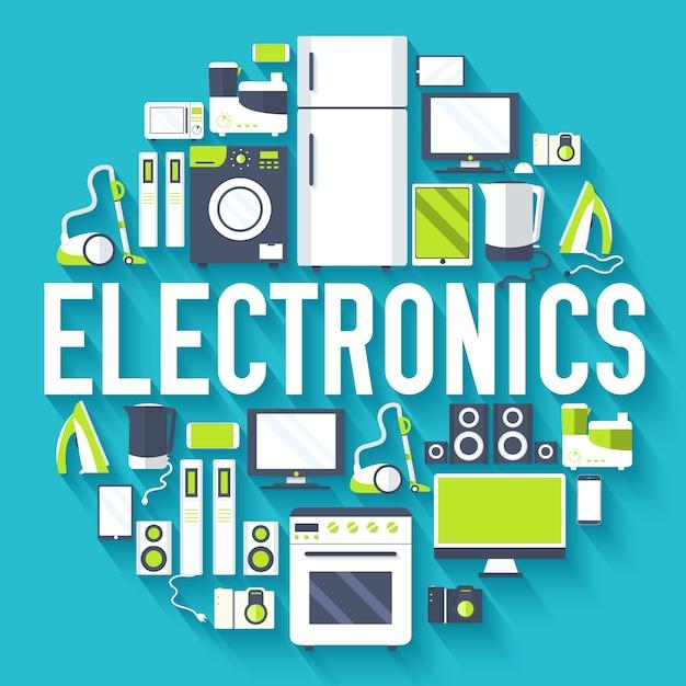 Hauselektronikgeräte kreis infografiken vorlage konzept Premium Vektoren