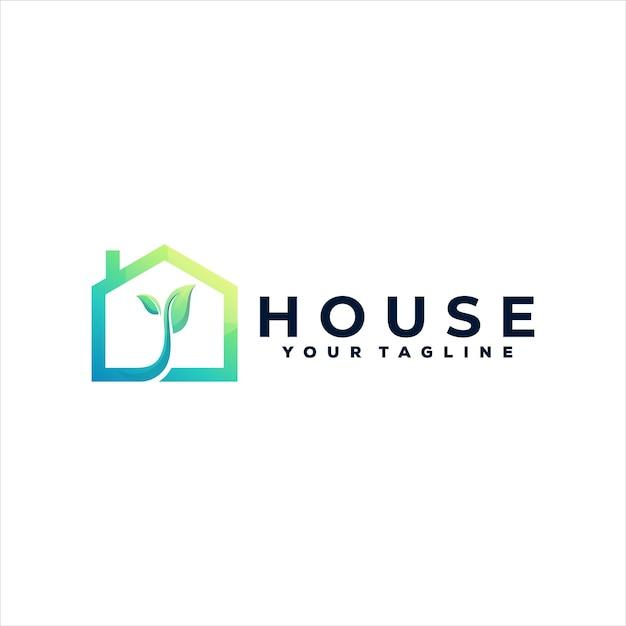 Hausfarbverlaufslogoentwurf Premium Vektoren