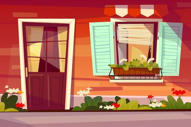 Hausfassadenillustration der eingangstür mit glas- und fensterfensterladen und -markise. Kostenlosen Vektoren