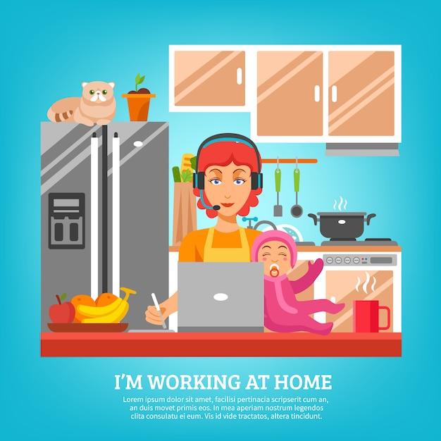 Hausfrau-konzept des entwurfes am kücheninnenraum Kostenlosen Vektoren