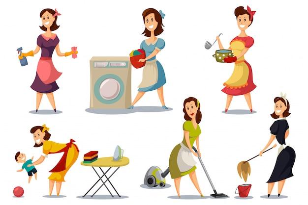 Hausfrauen in einem satz der weinleseretrostil-fünfziger jahre. Premium Vektoren
