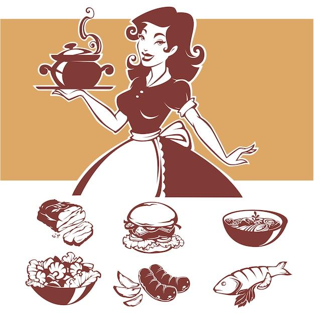 Hausgemachte küche, illustration der pinup-hausfrau und gängige menügerichte Premium Vektoren