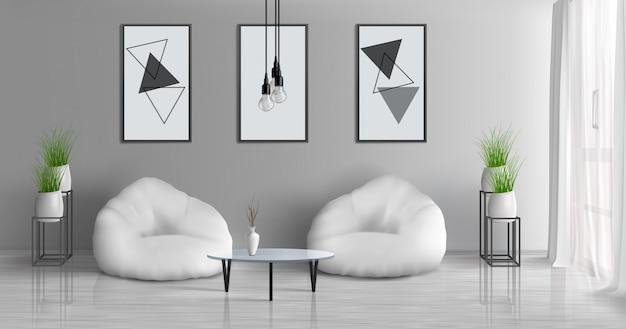 Haushalle, sonniger innenraum des realistischen vektors des wohnzimmers 3d der modernen wohnung mit couchtisch nahe zwei strahlentaschenstühlen in der mitte des raumes, malereien, fotorahmen auf grauer wand, blumentopfillustration Kostenlosen Vektoren