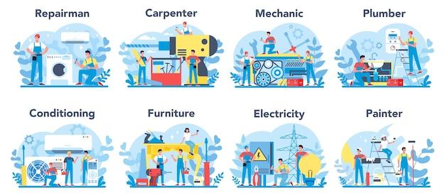 Haushalts- und renovierungsberuf eingestellt. heimmeister. handwerker, schreiner, mechaniker, maler, klempner, canditioning, möbelmeister elektriker service. Premium Vektoren