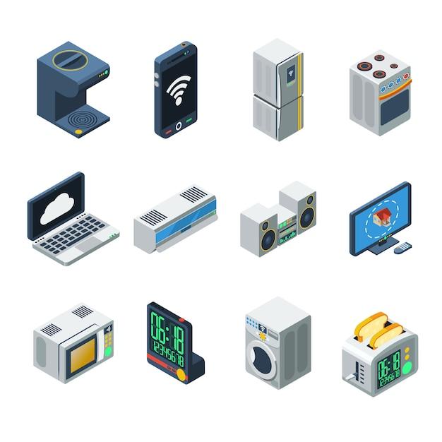 Haushaltsgeräte-isometrie-set Kostenlosen Vektoren