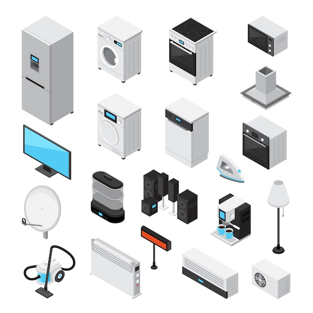 Haushaltsgeräte isometrische set Kostenlosen Vektoren