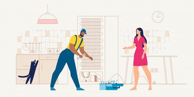 Haushaltsgerätservice-schlosser am arbeitsvektor Premium Vektoren