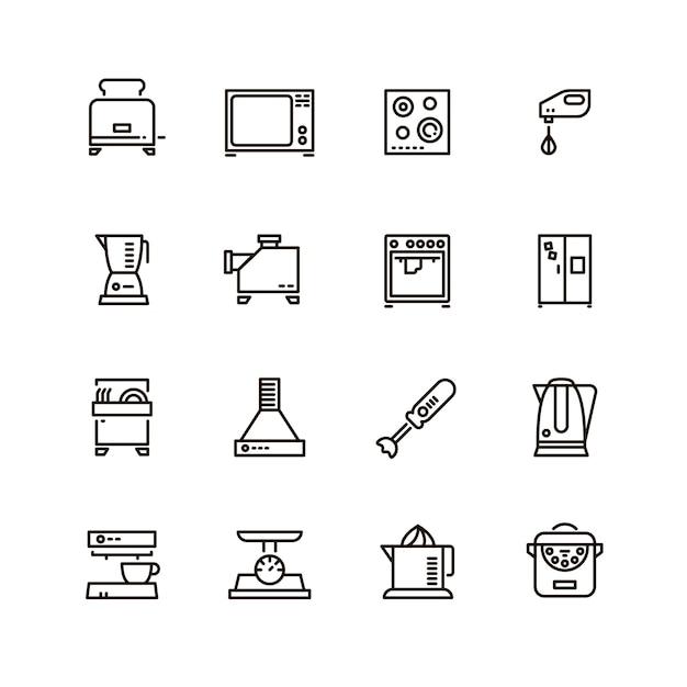 Haushaltslinie symbole der küchen- und kochgeräte Premium Vektoren