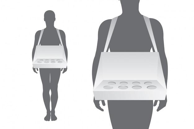 Hausierer tablett auf weißem hintergrund für branding-artikel Premium Vektoren