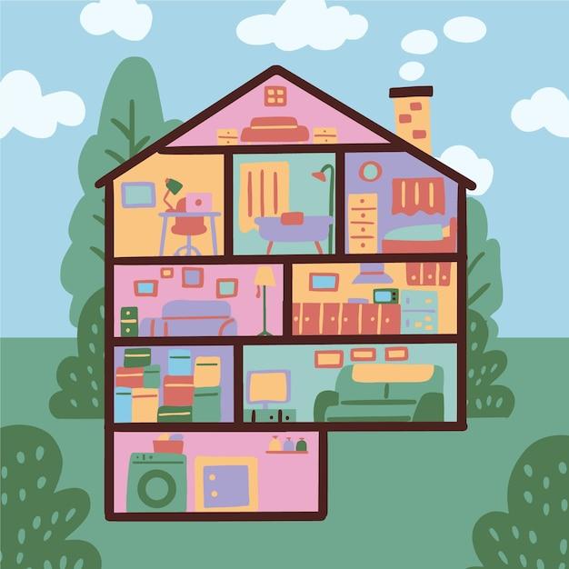 Hausillustration im querschnitt Kostenlosen Vektoren