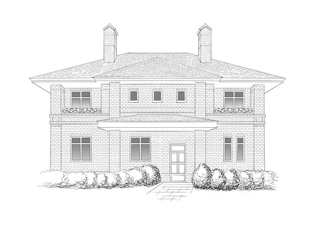 Hausillustration, schwarzweiss-monochrome hauptskizzenkunst Premium Vektoren
