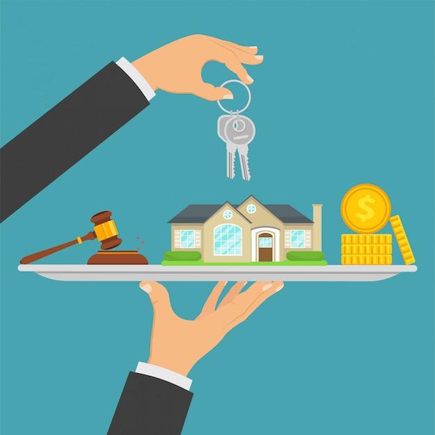 Hauskauf, immobilienverkauf, immobilientransaktion Premium Vektoren