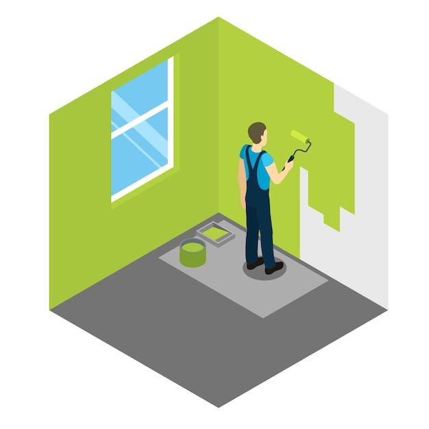 Hausmaler isometrisches design Kostenlosen Vektoren