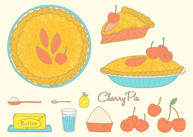 Hausmannskost cherry pie Premium Vektoren
