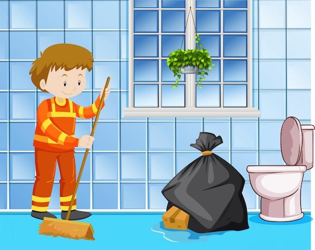 Hausmeister, der nassen boden in der toilette säubert Kostenlosen Vektoren