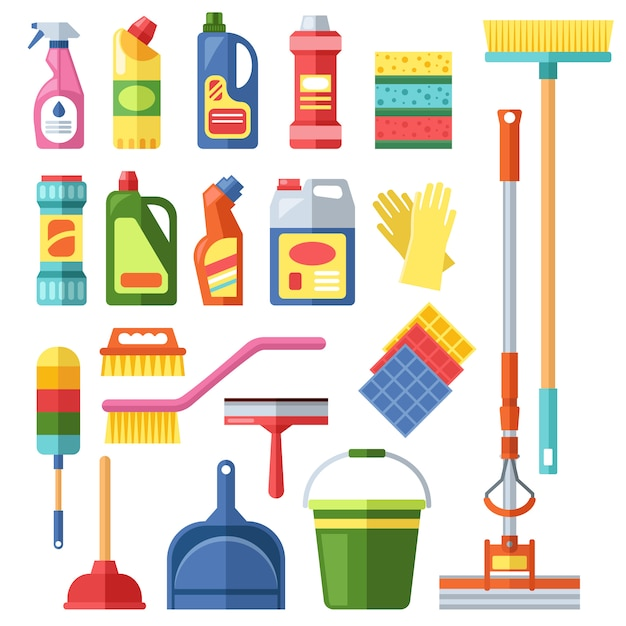 Hausreinigung-tools-set Premium Vektoren
