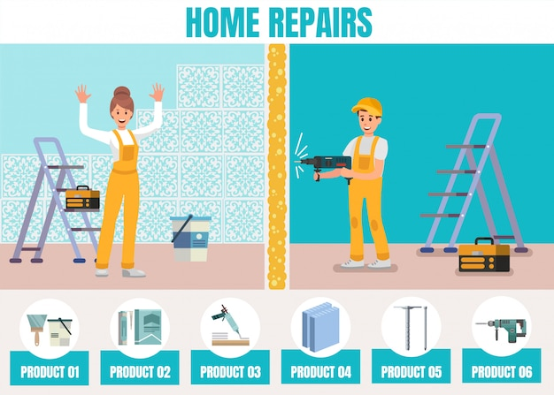 Hausreparaturen online service promotion flat Premium Vektoren