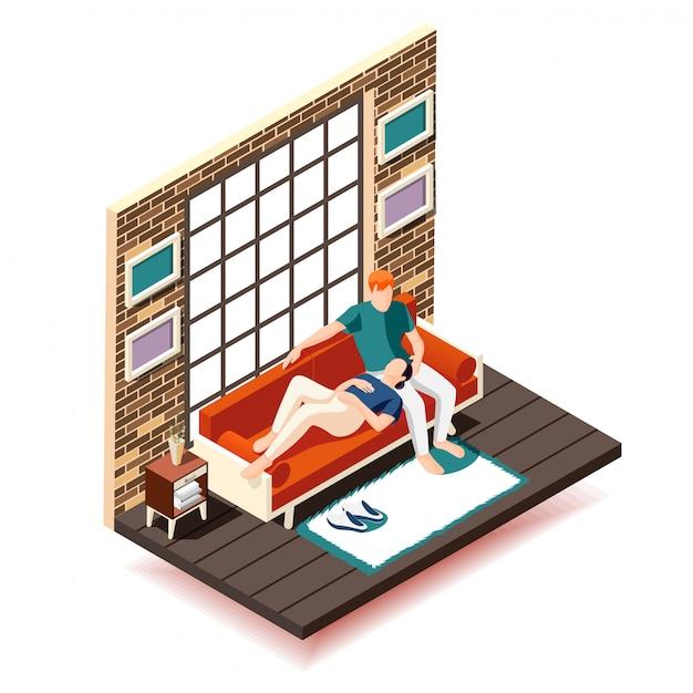 Hausruhewochenende isometrische zusammensetzung frau und ehemann auf sofa während der freizeit in der nähe von großen fenster Kostenlosen Vektoren