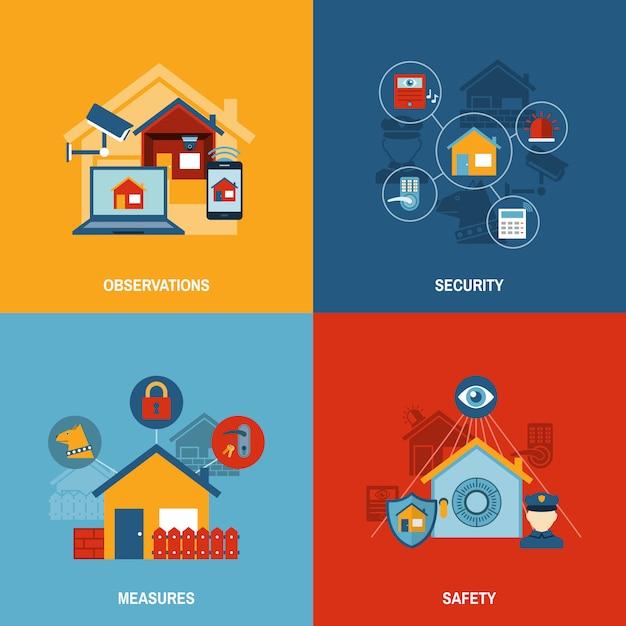 Haussicherheit eingestellt Kostenlosen Vektoren
