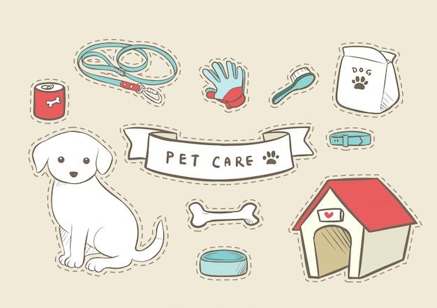 Haustier-hundepflege hand gezeichnet Premium Vektoren