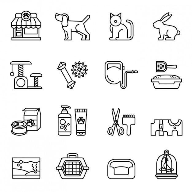 Haustier, tierarzt, tierhandlung icon-set Premium Vektoren