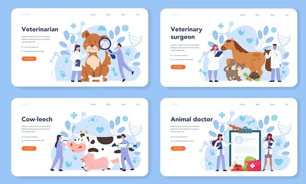 Haustier-tierarzt-web-banner oder landingpage-satz Premium Vektoren